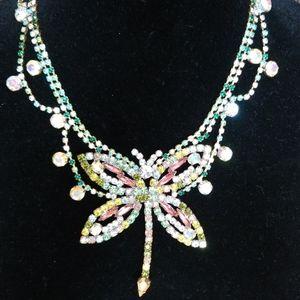 Vintage Czech Crystal Butterfly Necklace NOS
